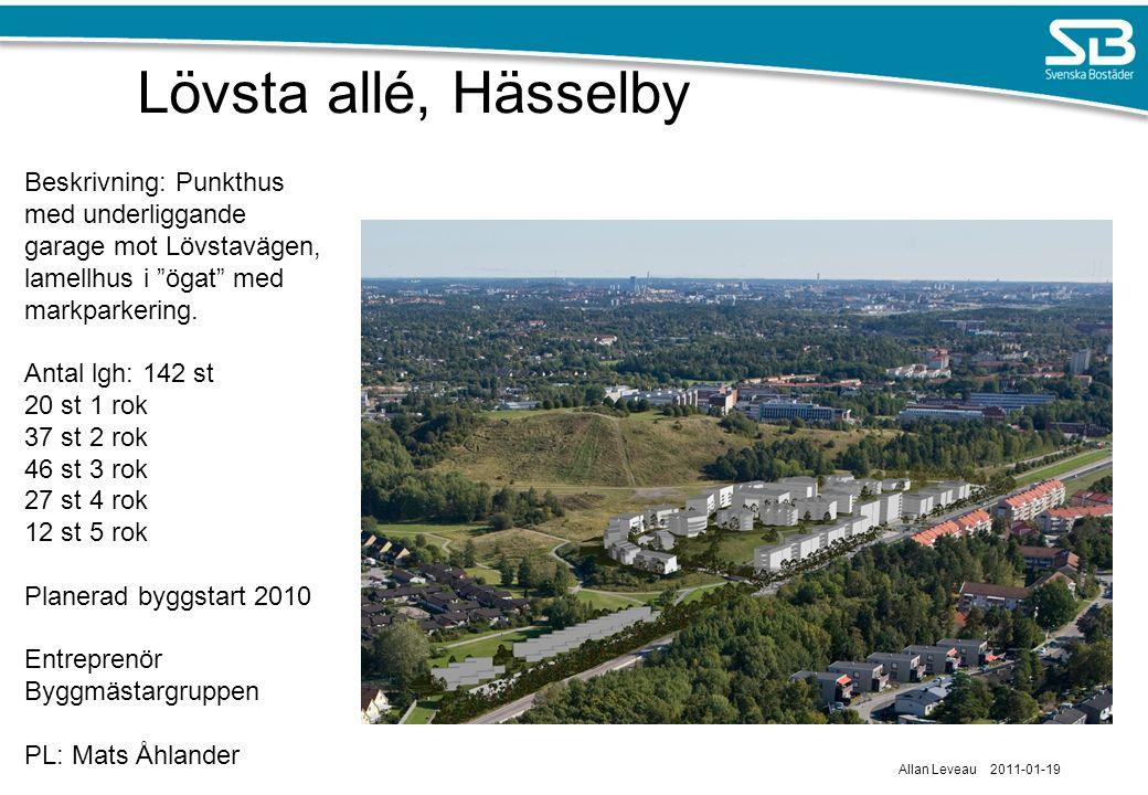 Lövsta allé, Hässelby Beskrivning: Punkthus med underliggande garage mot Lövstavägen, lamellhus i ögat med markparkering.