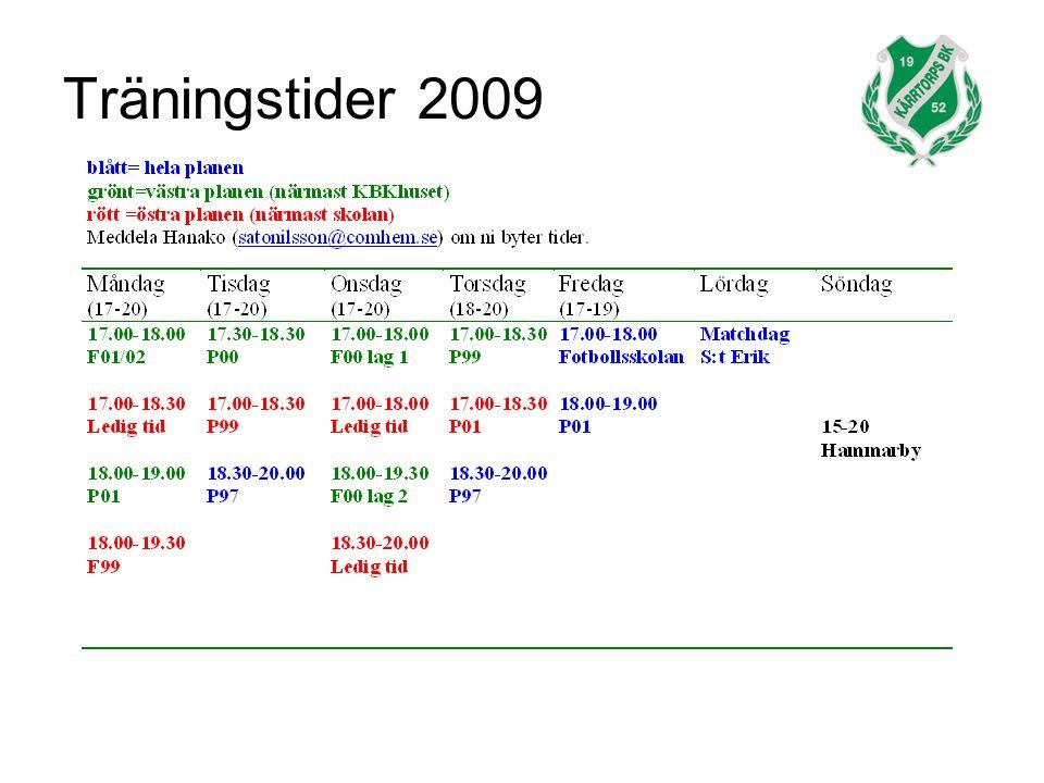 Träningstider 2009