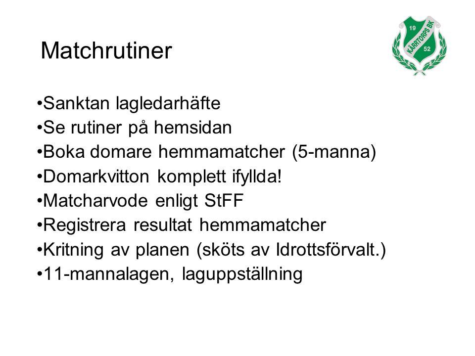 Matchrutiner Sanktan lagledarhäfte Se rutiner på hemsidan Boka domare hemmamatcher (5-manna) Domarkvitton komplett ifyllda.