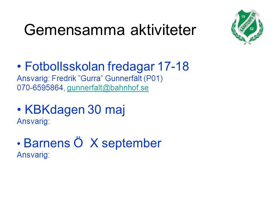 Gemensamma aktiviteter Fotbollsskolan fredagar 17-18 Ansvarig: Fredrik Gurra Gunnerfält (P01) 070-6595864, gunnerfalt@bahnhof.segunnerfalt@bahnhof.se KBKdagen 30 maj Ansvarig: Barnens Ö X september Ansvarig: