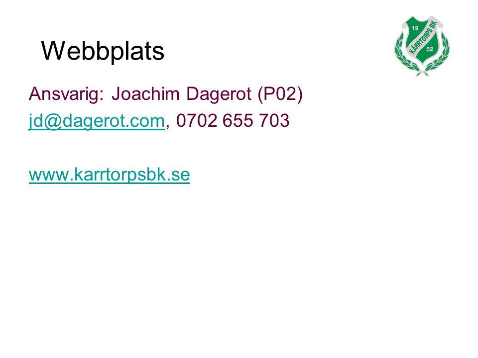 Webbplats Ansvarig: Joachim Dagerot (P02) jd@dagerot.comjd@dagerot.com, 0702 655 703 www.karrtorpsbk.se