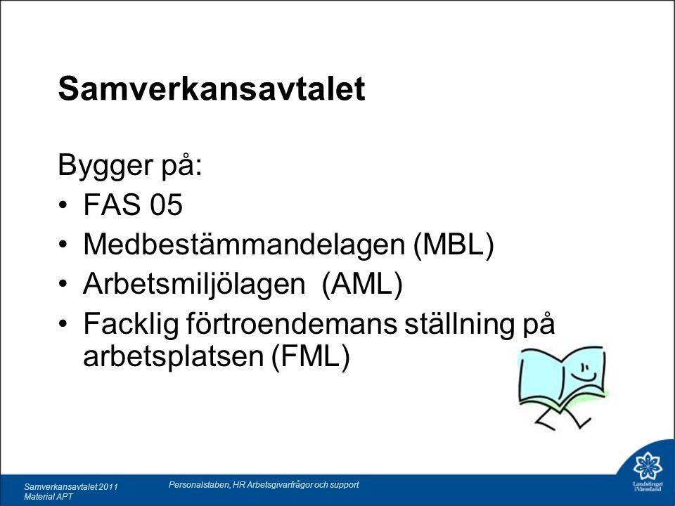 Samverkansavtalet 2011 Material APT Personalstaben, HR Arbetsgivarfrågor och support Samverkansavtalet Bygger på: FAS 05 Medbestämmandelagen (MBL) Arbetsmiljölagen (AML) Facklig förtroendemans ställning på arbetsplatsen (FML)