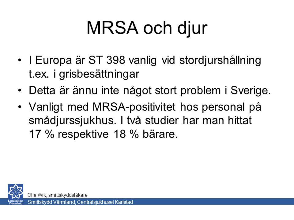 MRSA och djur I Europa är ST 398 vanlig vid stordjurshållning t.ex.
