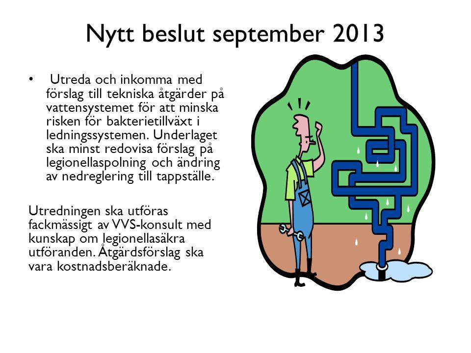 Nytt beslut september 2013 Utreda och inkomma med förslag till tekniska åtgärder på vattensystemet för att minska risken för bakterietillväxt i ledningssystemen.