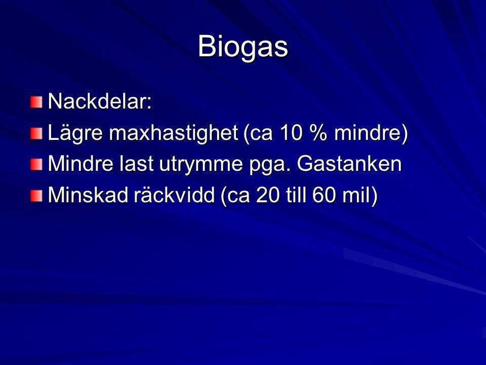 Biogas Nackdelar: Lägre maxhastighet (ca 10 % mindre) Mindre last utrymme pga. Gastanken Minskad räckvidd (ca 20 till 60 mil)