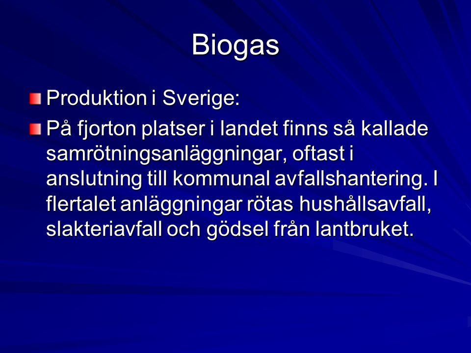 Biogas Produktion i Sverige: På fjorton platser i landet finns så kallade samrötningsanläggningar, oftast i anslutning till kommunal avfallshantering.