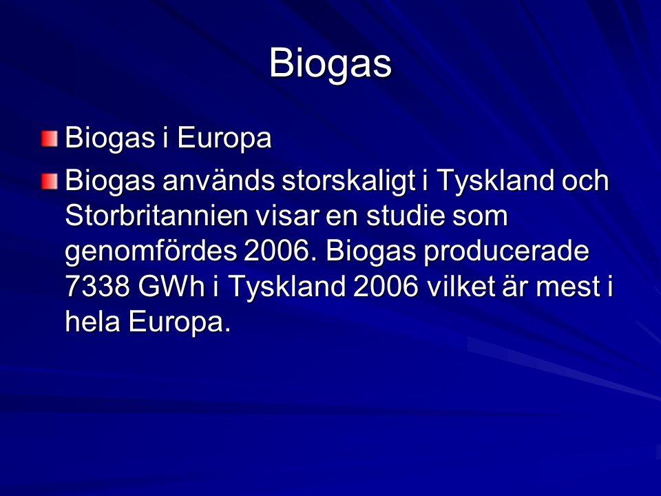 Biogas Biogas i Europa Biogas används storskaligt i Tyskland och Storbritannien visar en studie som genomfördes 2006. Biogas producerade 7338 GWh i Ty