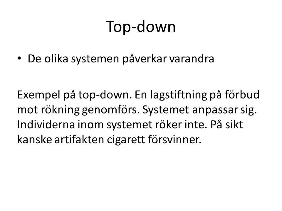 Top-down De olika systemen påverkar varandra Exempel på top-down.
