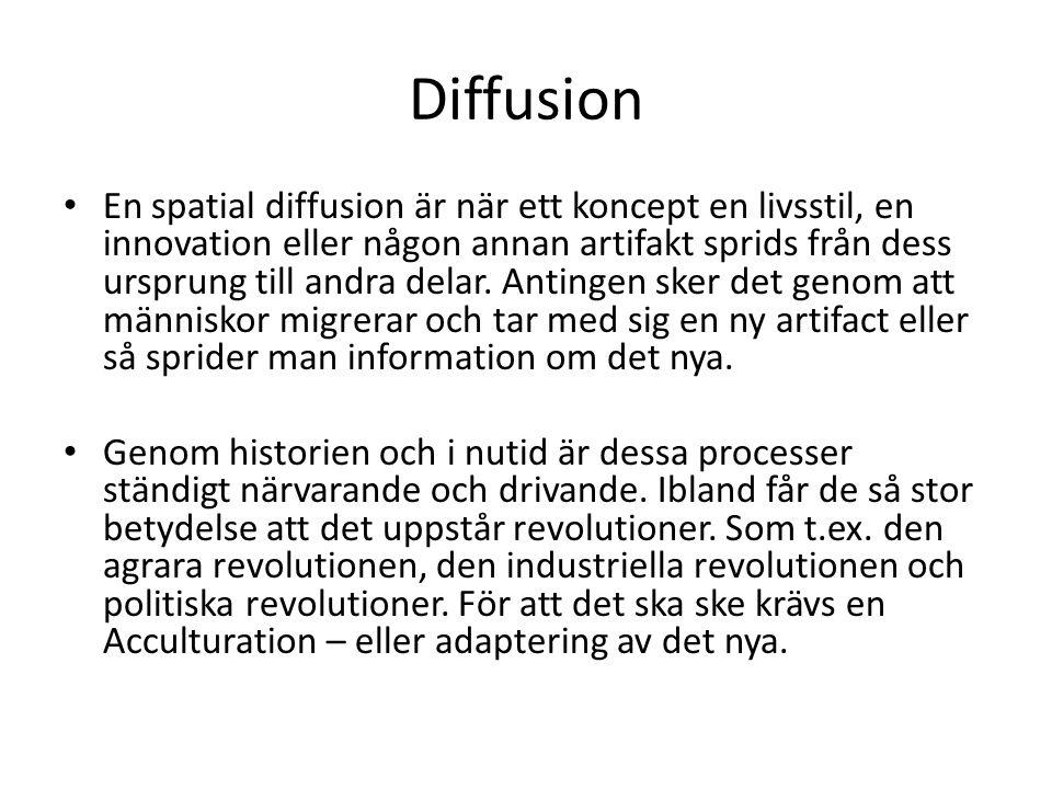 Diffusion En spatial diffusion är när ett koncept en livsstil, en innovation eller någon annan artifakt sprids från dess ursprung till andra delar.