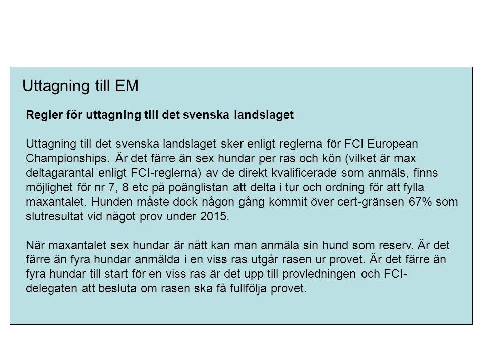 Uttagning till EM Regler för uttagning till det svenska landslaget Uttagning till det svenska landslaget sker enligt reglerna för FCI European Champio