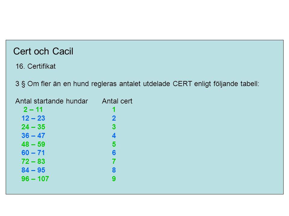 Cert och Cacil 16. Certifikat 3 § Om fler än en hund regleras antalet utdelade CERT enligt följande tabell: Antal startande hundarAntal cert 2 – 11 1