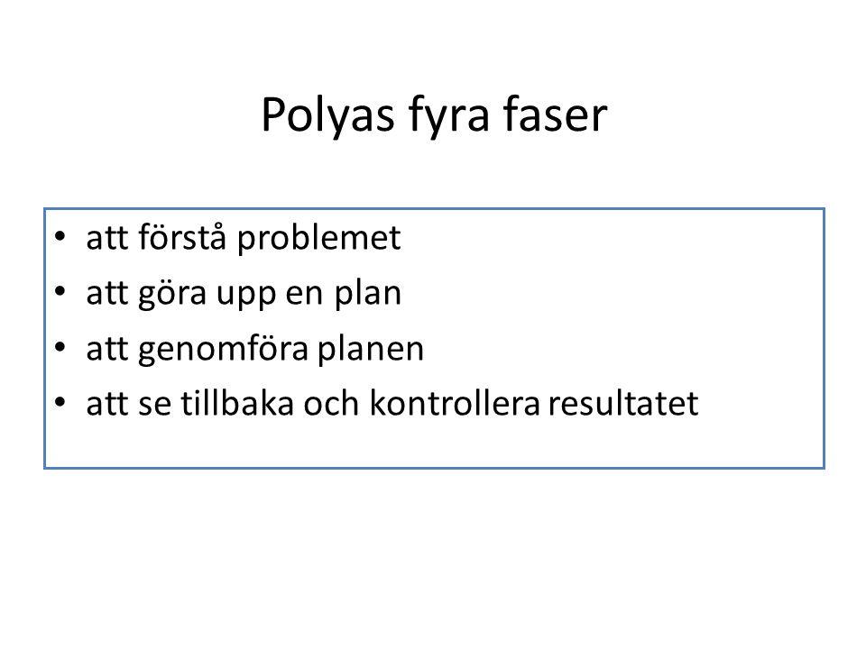 Polyas fyra faser att förstå problemet att göra upp en plan att genomföra planen att se tillbaka och kontrollera resultatet