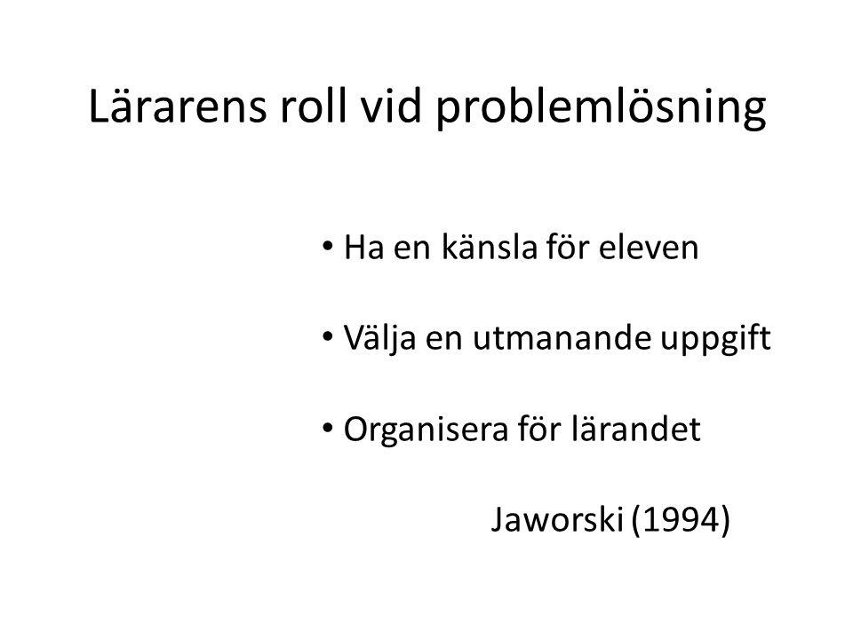 Lärarens roll vid problemlösning Ha en känsla för eleven Välja en utmanande uppgift Organisera för lärandet Jaworski (1994)