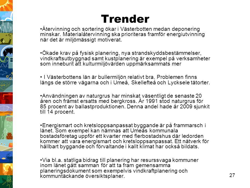 27 Trender Återvinning och sortering ökar i Västerbotten medan deponering minskar.