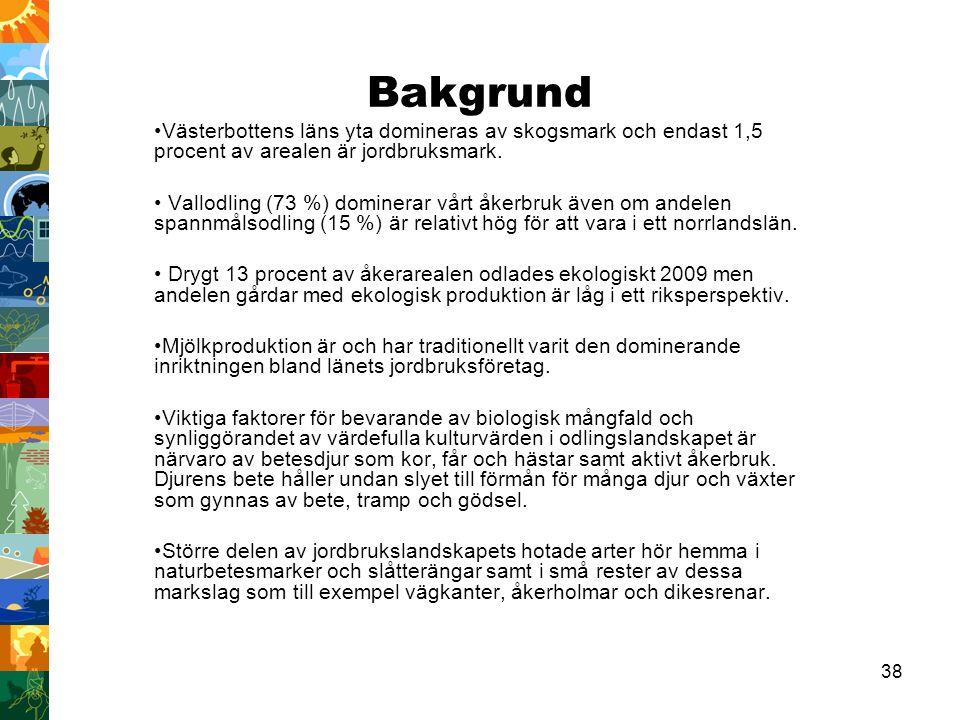 38 Bakgrund Västerbottens läns yta domineras av skogsmark och endast 1,5 procent av arealen är jordbruksmark.