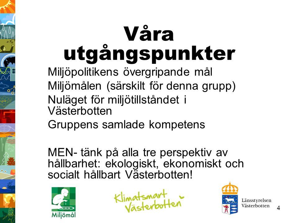 35 Miljötillståndet i Västerbotten DelmålStatus Långsiktigt skydd av skogsmark 82% av det totala målet i Västerbotten har skyddats.