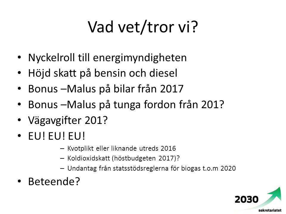 Vad vet/tror vi? Nyckelroll till energimyndigheten Höjd skatt på bensin och diesel Bonus –Malus på bilar från 2017 Bonus –Malus på tunga fordon från 2