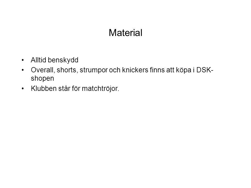 Material Alltid benskydd Overall, shorts, strumpor och knickers finns att köpa i DSK- shopen Klubben står för matchtröjor.