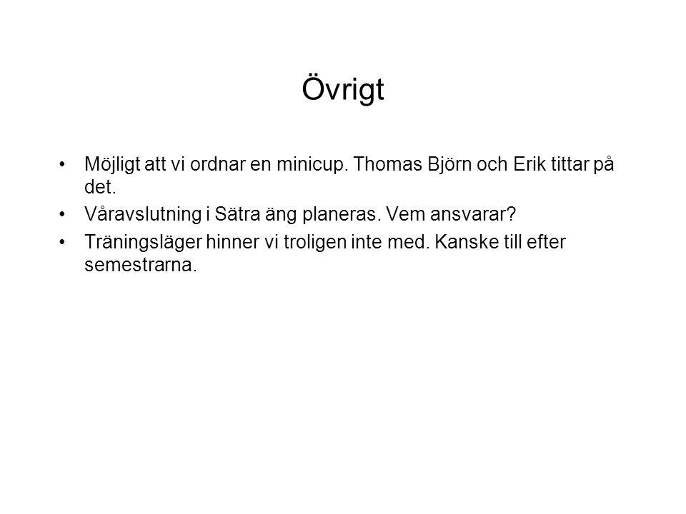Övrigt Möjligt att vi ordnar en minicup. Thomas Björn och Erik tittar på det. Våravslutning i Sätra äng planeras. Vem ansvarar? Träningsläger hinner v