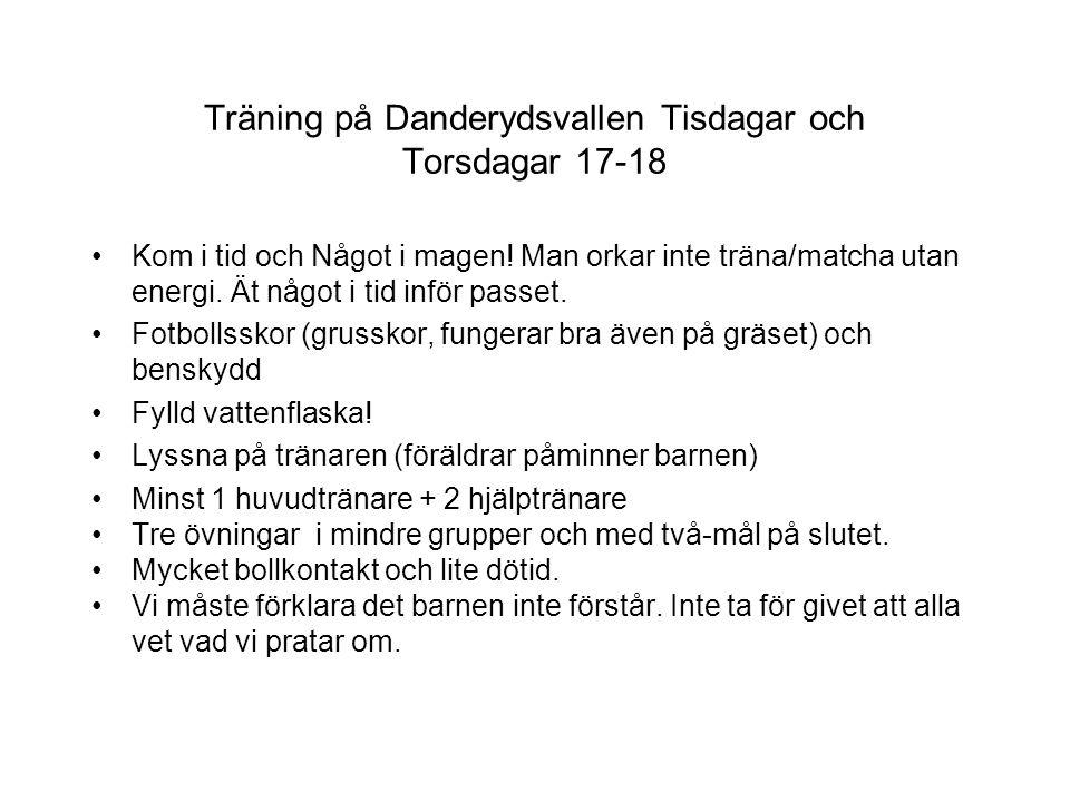 Träning på Danderydsvallen Tisdagar och Torsdagar 17-18 Kom i tid och Något i magen! Man orkar inte träna/matcha utan energi. Ät något i tid inför pas