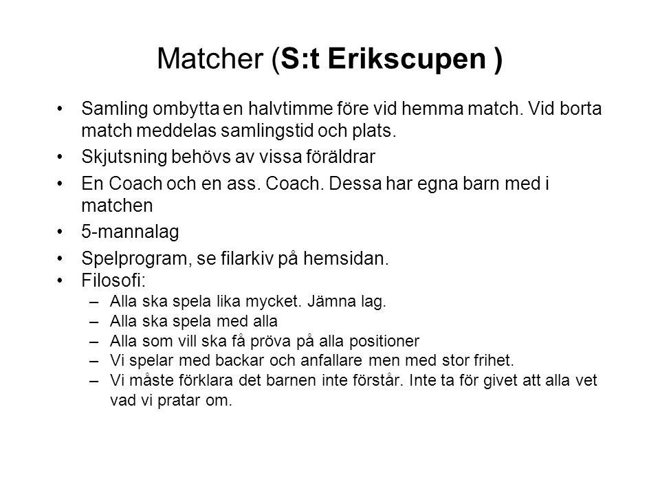 Matcher (S:t Erikscupen ) Samling ombytta en halvtimme före vid hemma match. Vid borta match meddelas samlingstid och plats. Skjutsning behövs av viss