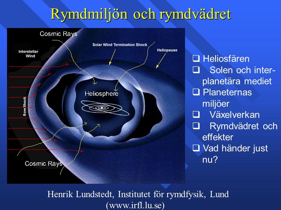 Henrik Lundstedt, Institutet för rymdfysik, Lund (www.irfl.lu.se) Rymdmiljön och rymdvädret q Heliosfären q Solen och inter- planetära mediet q Planeternas miljöer q Växelverkan q Rymdvädret och effekter q Vad händer just nu
