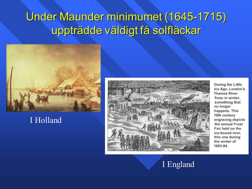 Under Maunder minimumet (1645-1715) uppträdde väldigt få solfläckar I Holland I England