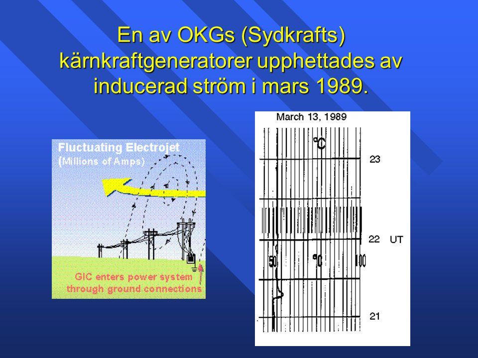 En av OKGs (Sydkrafts) kärnkraftgeneratorer upphettades av inducerad ström i mars 1989.