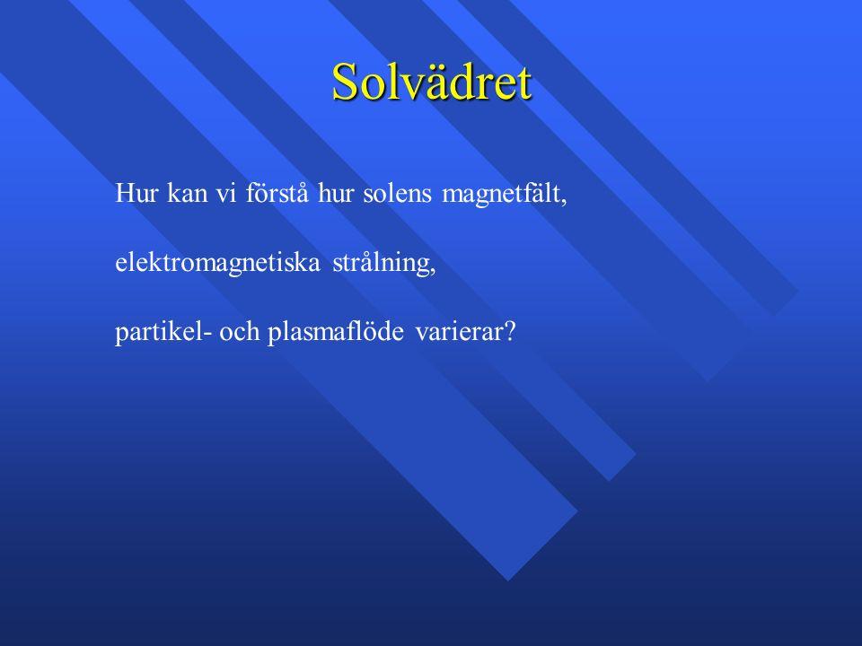 Solvädret Hur kan vi förstå hur solens magnetfält, elektromagnetiska strålning, partikel- och plasmaflöde varierar