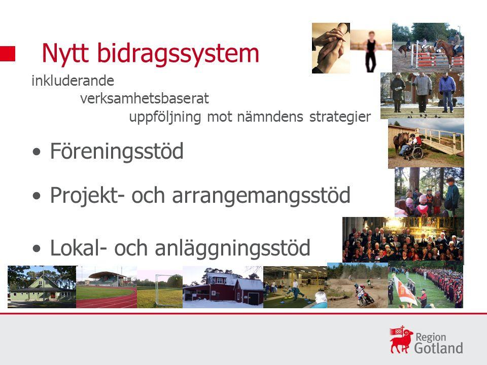 inkluderande verksamhetsbaserat uppföljning mot nämndens strategier Föreningsstöd Projekt- och arrangemangsstöd Lokal- och anläggningsstöd Nytt bidrag