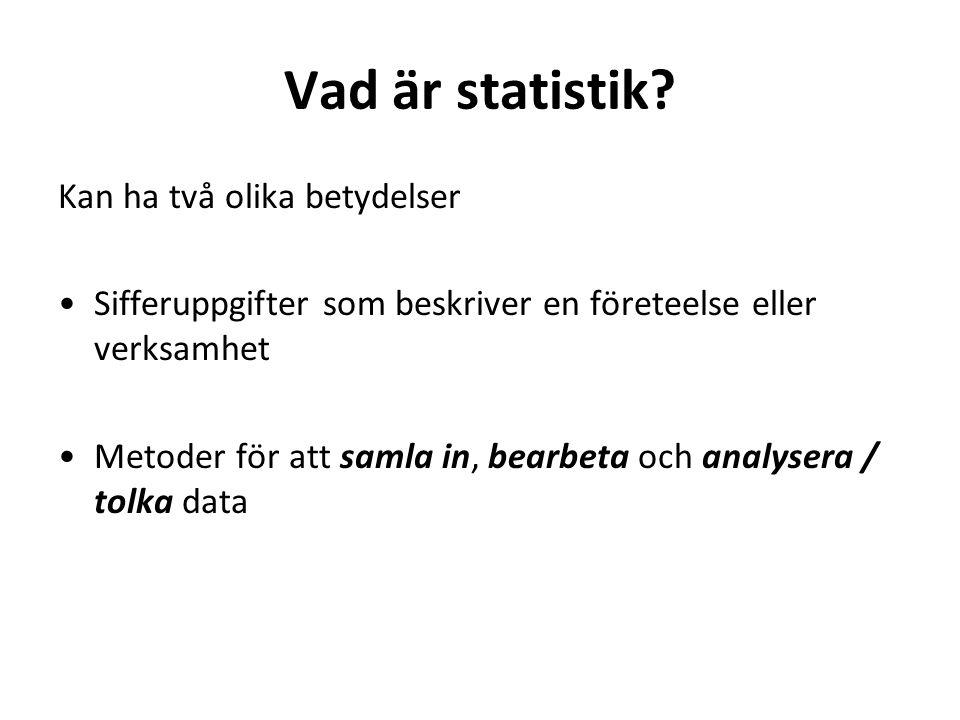 2 Vad är statistik.