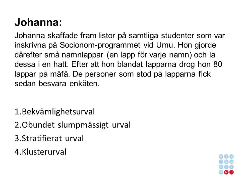 Johanna: Johanna skaffade fram listor på samtliga studenter som var inskrivna på Socionom-programmet vid Umu.