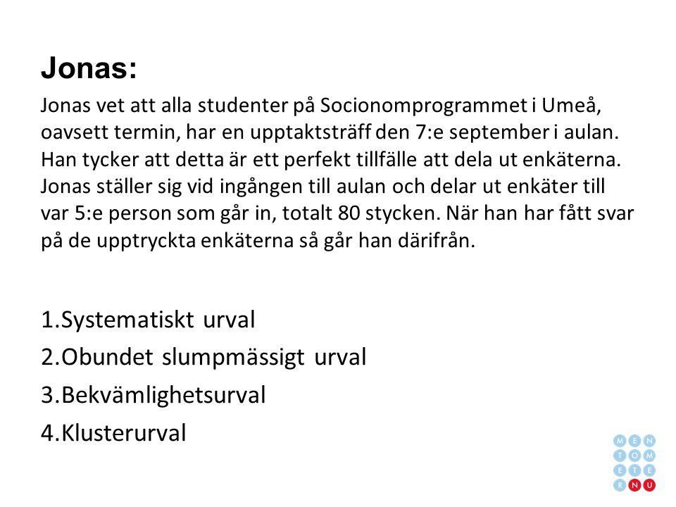 Jonas: Jonas vet att alla studenter på Socionomprogrammet i Umeå, oavsett termin, har en upptaktsträff den 7:e september i aulan.