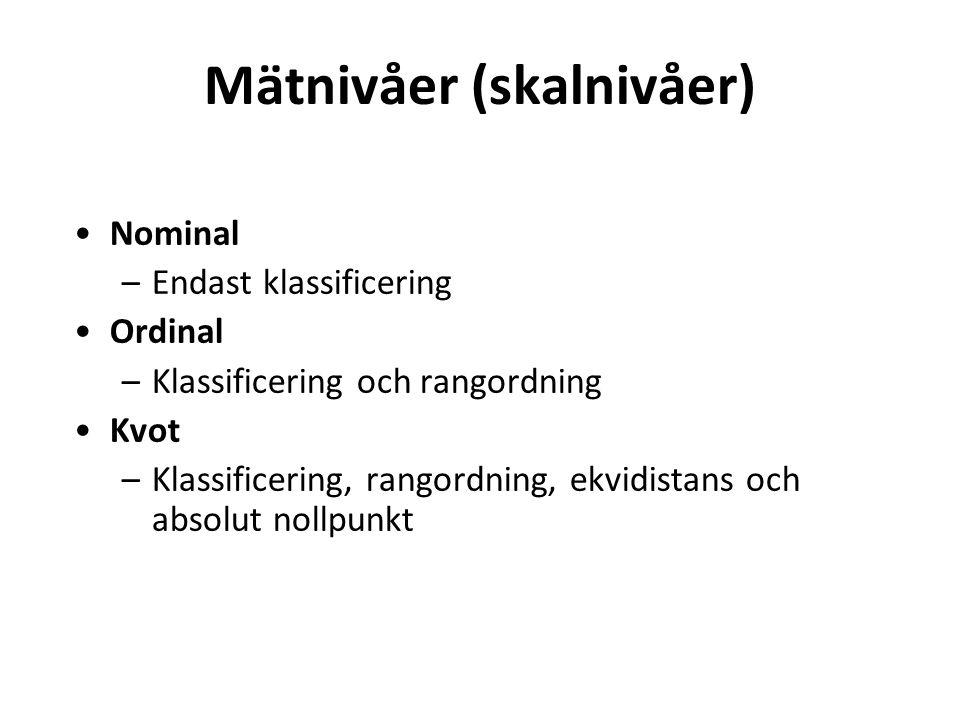 Mätnivåer (skalnivåer) Nominal –Endast klassificering Ordinal –Klassificering och rangordning Kvot –Klassificering, rangordning, ekvidistans och absolut nollpunkt