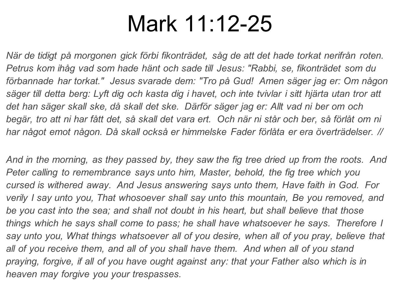 Mark 11:12-25 När de tidigt på morgonen gick förbi fikonträdet, såg de att det hade torkat nerifrån roten.