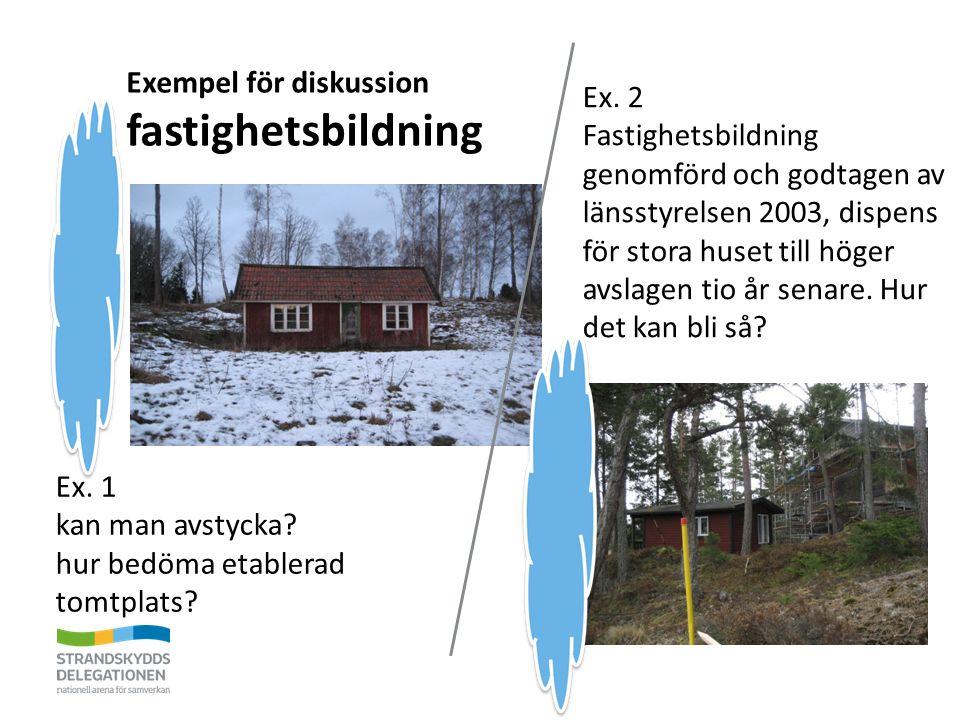 Exempel för diskussion fastighetsbildning Ex. 1 kan man avstycka? hur bedöma etablerad tomtplats? Ex. 2 Fastighetsbildning genomförd och godtagen av l