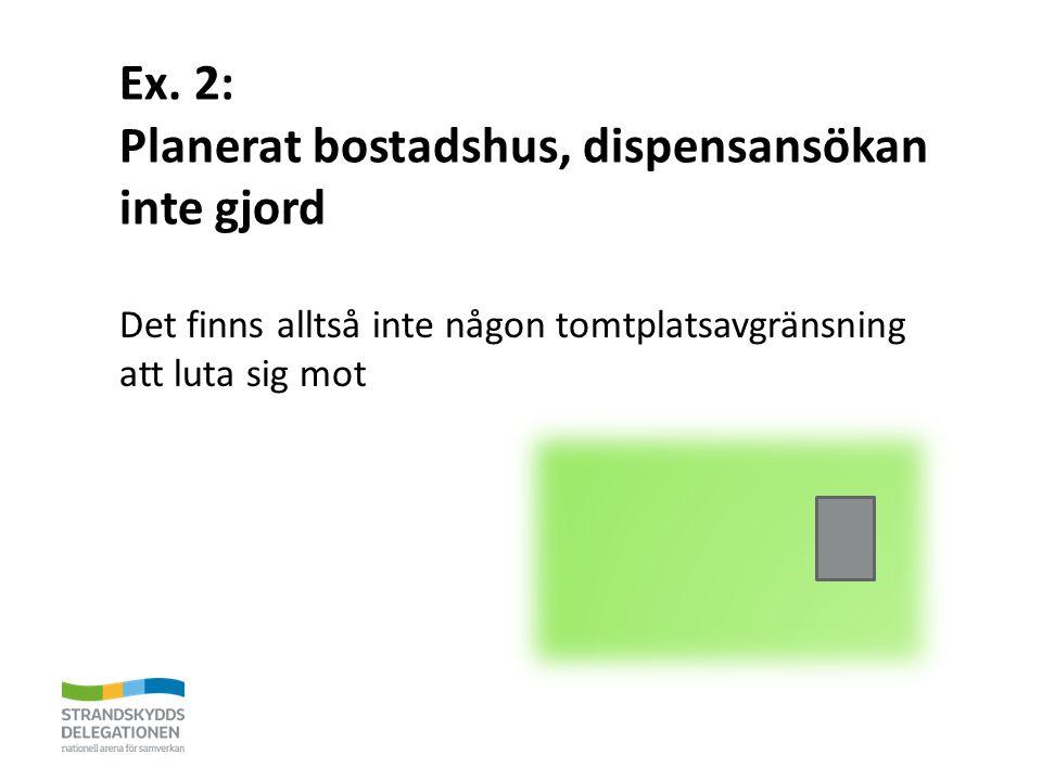 Ex. 2: Planerat bostadshus, dispensansökan inte gjord Det finns alltså inte någon tomtplatsavgränsning att luta sig mot