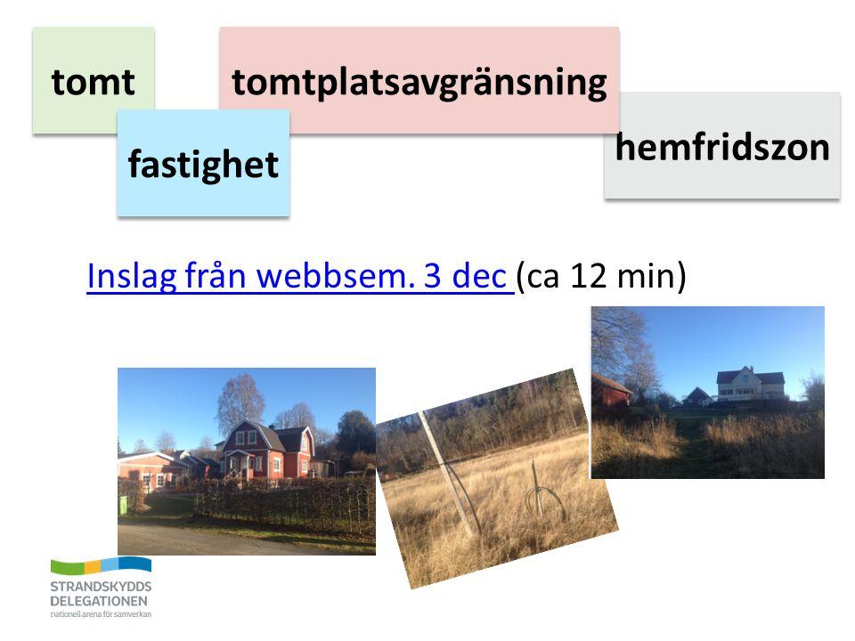 Inslag från webbsem. 3 dec Inslag från webbsem. 3 dec (ca 12 min) tomt hemfridszon tomtplatsavgränsning fastighet