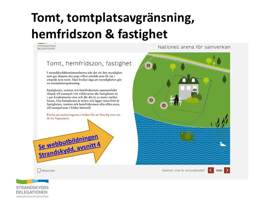 Tomt, tomtplatsavgränsning, hemfridszon & fastighet Se webbutbildningen Strandskydd, avsnitt 4