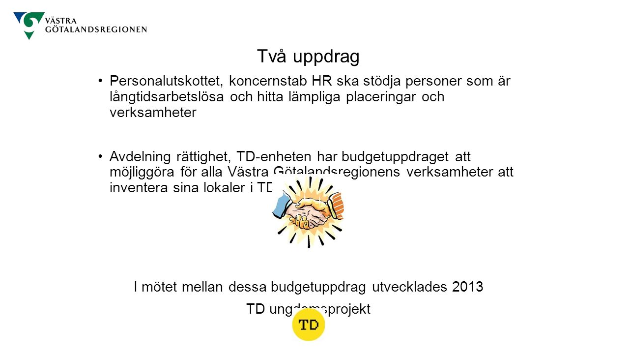 50 unga (20-25 år) anställts med hjälp av Nystartsjobb från Arbetsförmedlingen 2013-2015 Arbetsuppgift: att inventera över 2000 verksamheter samt 18 sjukhus Inventerat hittills: Vårdenheter inklusive sjukhus med alla mottagningar Göteborgs folkhögskola med filialer, Dalslands folkhögskola Trollhättan Museer Teatrar Alla bolag Patientnämndens kansli, 5 Regionens Hus 2015 – 17 ungdomar får arbete under 12 månader.