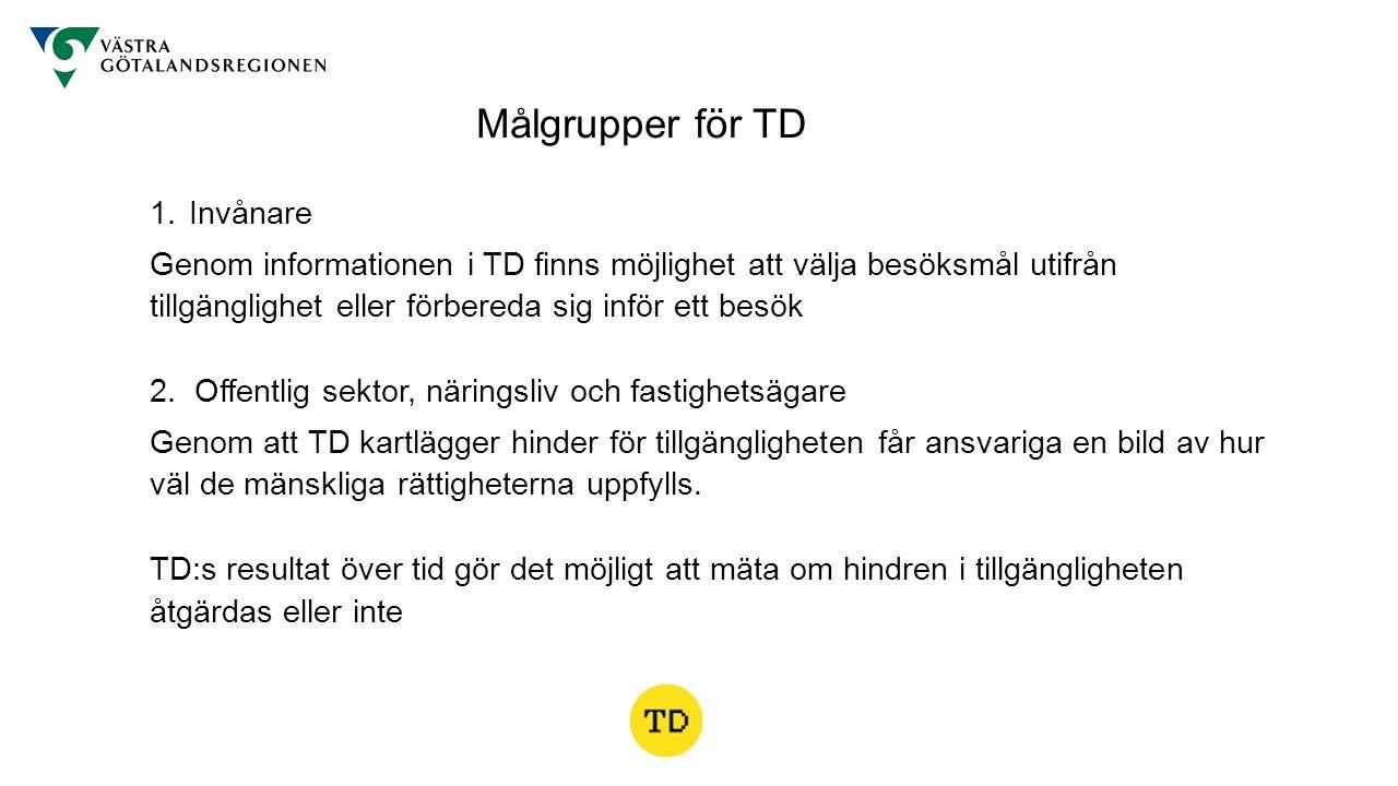 1. Invånare Genom informationen i TD finns möjlighet att välja besöksmål utifrån tillgänglighet eller förbereda sig inför ett besök 2. Offentlig sekto