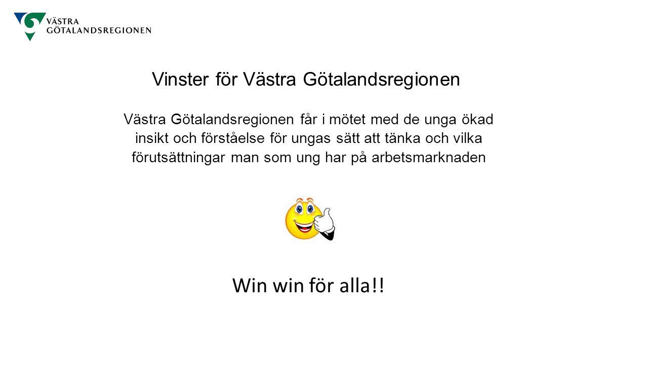 Västra Götalandsregionen får i mötet med de unga ökad insikt och förståelse för ungas sätt att tänka och vilka förutsättningar man som ung har på arbetsmarknaden Win win för alla!.