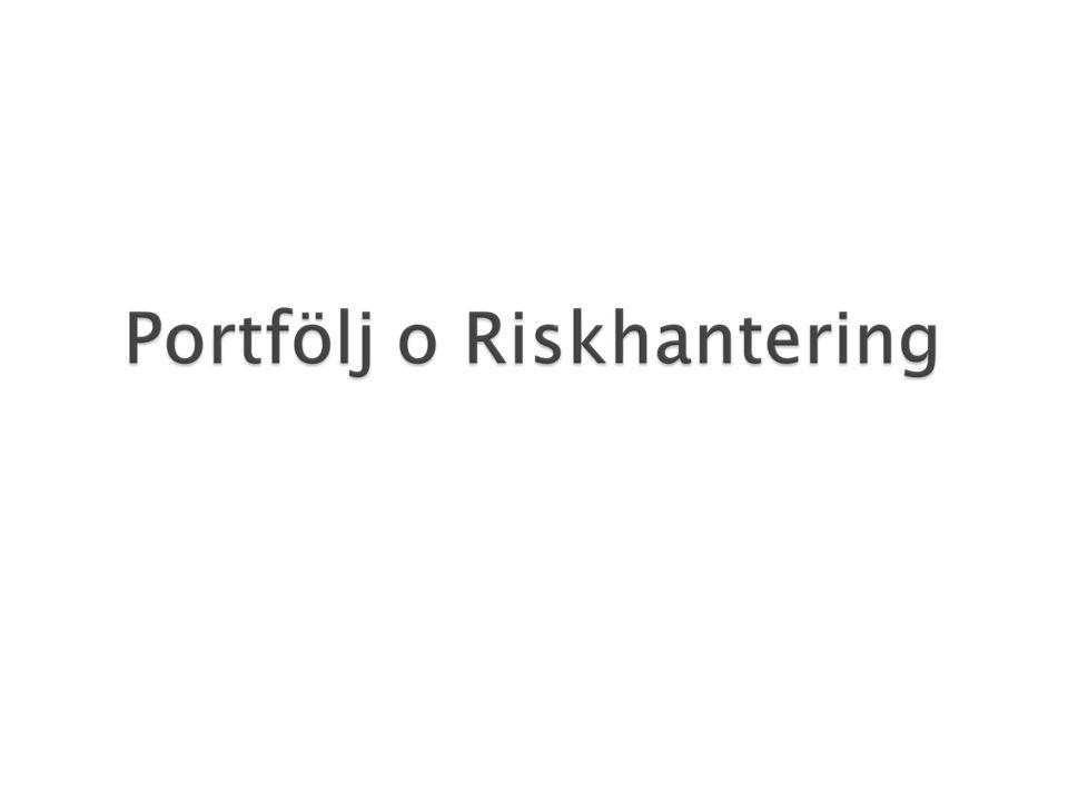  Risken i en portfölj kan delas upp i – en diversifierbar risk – en icke - diversifierbar risk även kallad marknadsrisk.