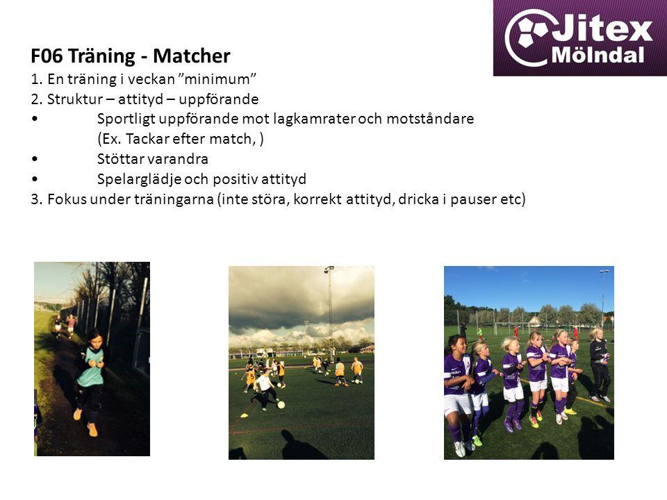 F06 Träning - Matcher 1. En träning i veckan minimum 2.