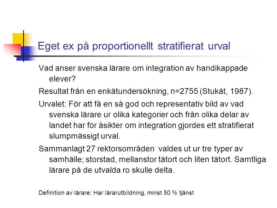 Eget ex på proportionellt stratifierat urval Vad anser svenska lärare om integration av handikappade elever.