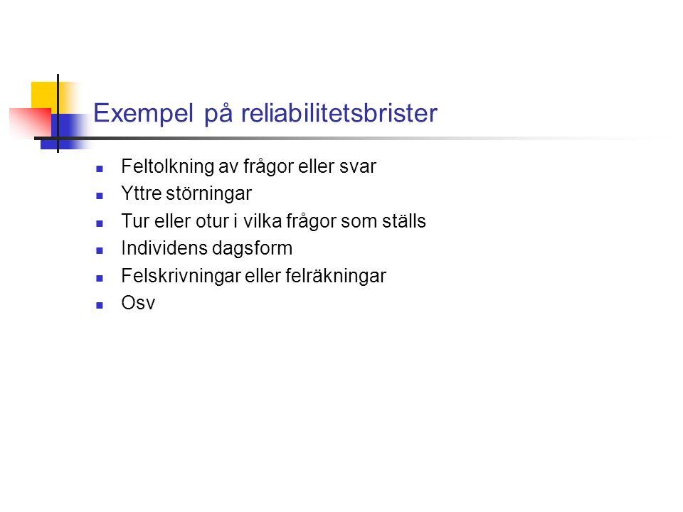 Exempel på reliabilitetsbrister Feltolkning av frågor eller svar Yttre störningar Tur eller otur i vilka frågor som ställs Individens dagsform Felskrivningar eller felräkningar Osv