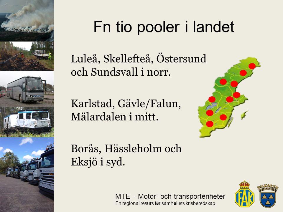 MTE – Motor- och transportenheter En regional resurs f ö r samh ä llets krisberedskap Luleå, Skellefteå, Östersund och Sundsvall i norr.