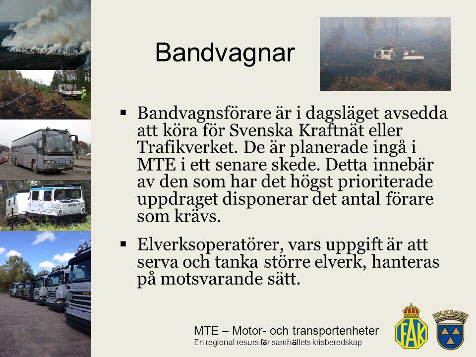 MTE – Motor- och transportenheter En regional resurs f ö r samh ä llets krisberedskap  Bandvagnsförare är i dagsläget avsedda att köra för Svenska Kraftnät eller Trafikverket.