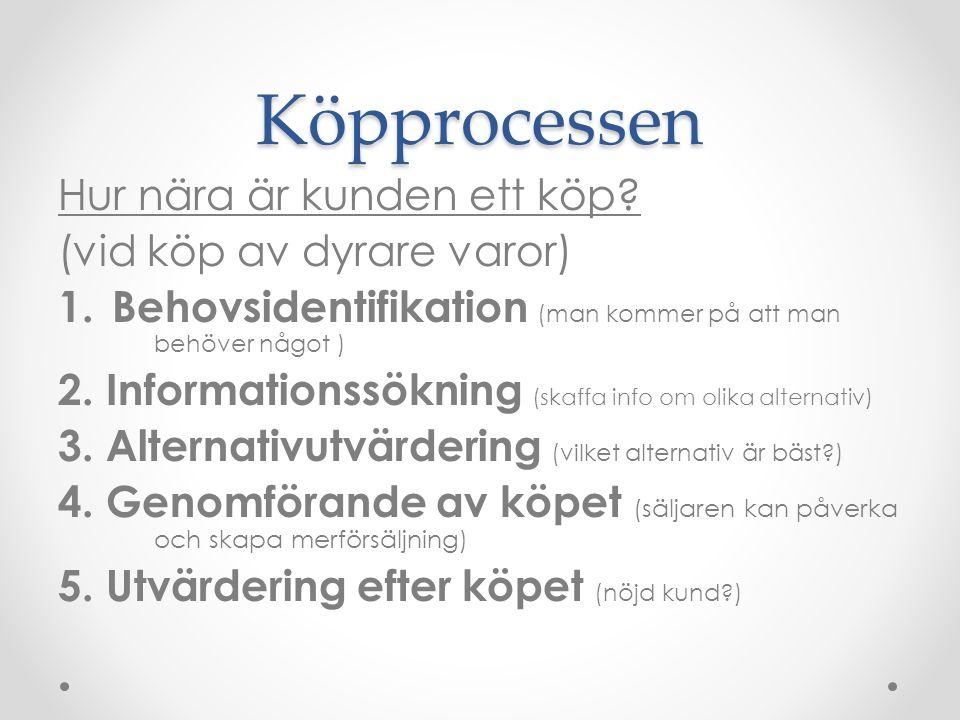 Köpprocessen Hur nära är kunden ett köp? (vid köp av dyrare varor) 1. Behovsidentifikation (man kommer på att man behöver något ) 2. Informationssökni