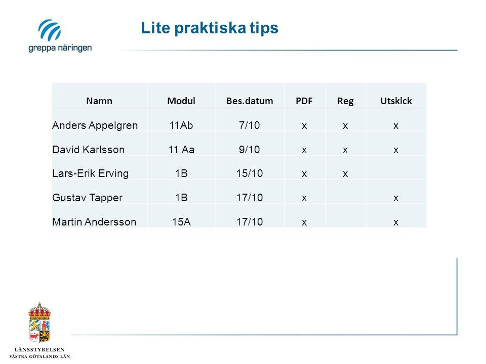 NamnModulBes.datumPDFRegUtskick Anders Appelgren11Ab7/10xxx David Karlsson11 Aa9/10xxx Lars-Erik Erving1B15/10xx Gustav Tapper1B17/10xx Martin Anderss
